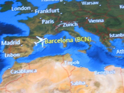 A photo of the map from Barcelona and areas where the Cruise Line will travel.