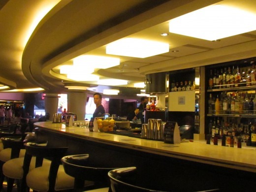 One of the bar and lounges on the ship.