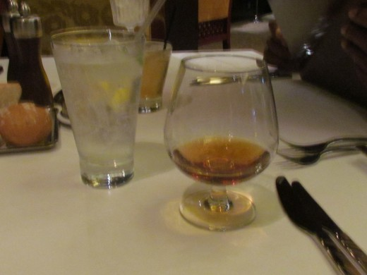 Remy Martin Cognac and club soda was served with dinner.
