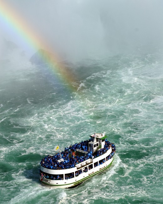 One of the Maid of the Mist tour boats approaching the Horseshoe Falls on the Canadian side of Niagara Falls.