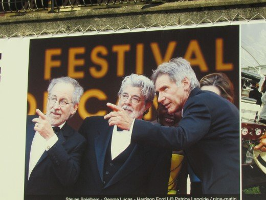 A photo of #Stephen Spielberg, George Lucas and Harrison Ford who attended #Cannes Film Festival previously.
