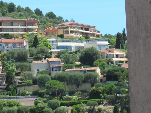 Homes on the mountain side near Nice, Italy. which is capital of the French Riviera.