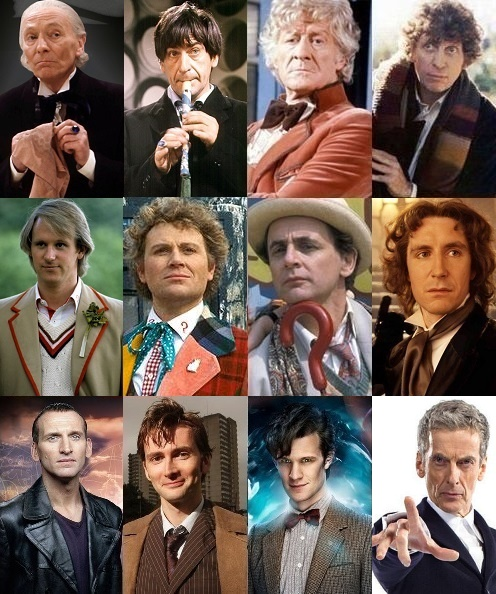 All twelve Doctors from the BBC television show