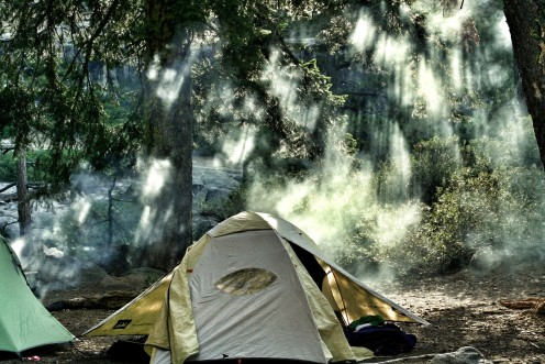 Tent in the woods.