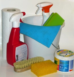 Toss all the cleaning supplies and solutions.