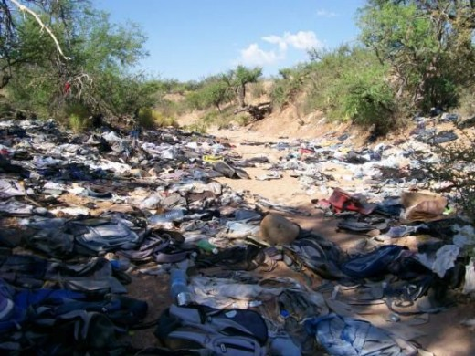 Trash left by illegals in Organ Pipe National Monument in Arizona.