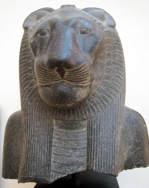 Sekhmet from the ttemple of Mutt at Rifpr by McLeod Public Domain
