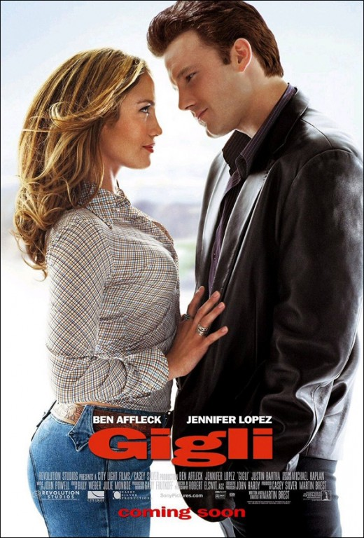 Theatrical poster Gigli. Property of Columbia Pictures and Revolution Studios.