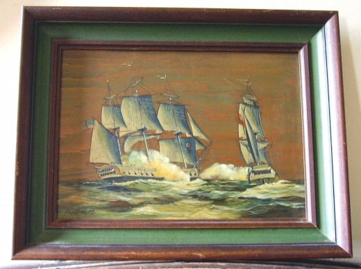 THIS WAS PAINTED ON A PIECE OF WOOD, AND YOU CAN SEE THE WOODGRAIN AND HOW THE ARTIST INCORPORATED IT INTO HIS PAINTING--WE LOVE IT!