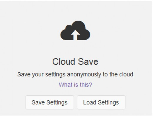 Save Settings To Cloud
