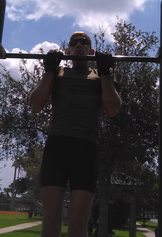 A phenomenal upper-body exercise, chin-ups - using both body-weight and with additional weight -formed the core of Monday's strength session.