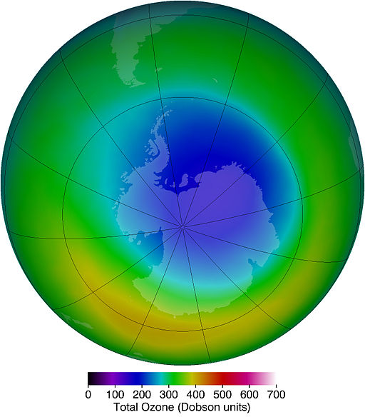 NASA image of the ozone hole over Antarctica.