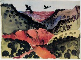 Crows In Flight is one of O'Keefe's more noted paintings from her early days in the Texas Panhandle