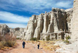 Some of the white limestone formations of Plaza Blanca canyon can be seen here