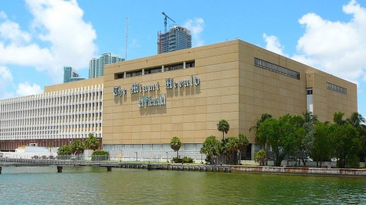 The Miami Herald Building with a prominent sign
