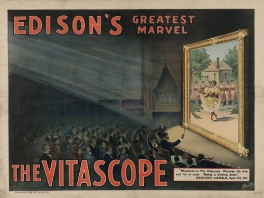 An advertisement for Edison's Vitascope, which was able to project moving pictures for a large audience.   The Vitascope was originally called the Phantoscope. It was not Edison's invention, but he took credit for it anyway.