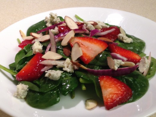 Green Salad with Strawberries- Berries are good sources of Anthocyanins