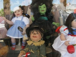 Dolls in the window of a Boulder City doll shop