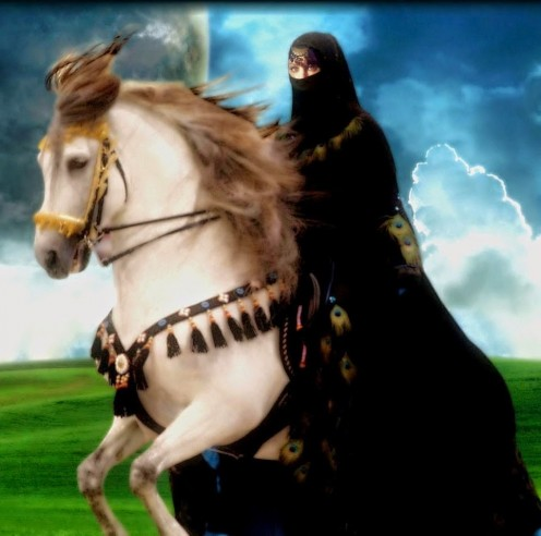 arabian horse and arab woman