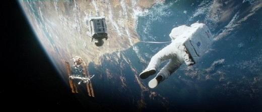 George Clooney and Sandra Bullock in Gravity