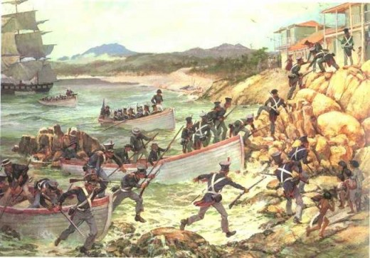 """Landing at Monterrey"" by Col. Charles Waterhouse, USMCR (ret). Marine detachments from Commodore Sloat's U.S. Pacific Squadron conduct an amphibious landing at Monterrey, California and seize the town. Sloat claims California as part of the U.S."
