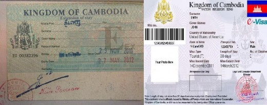 Cambodian Visa Sticker (Left) and E-Visa (Right)