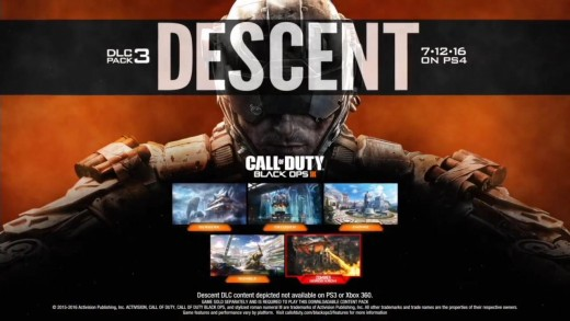 "Screen shot of Treyarch's Call of Duty: Black Ops III ""Descent"" DLC poster."