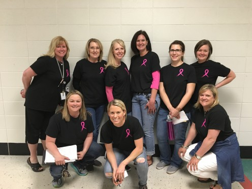 "These teachers wore ""Friends in the Fight"" breast cancer t-shirts on my last day of school."