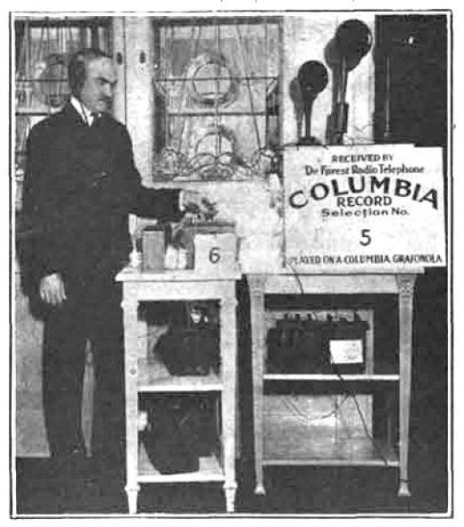 Lee DeForest broadcasting Columbia phonograph records.