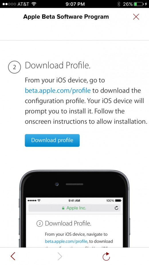 "Tap ""Download Profile"" to download the iOS Public Beta Profile to your iPhone."