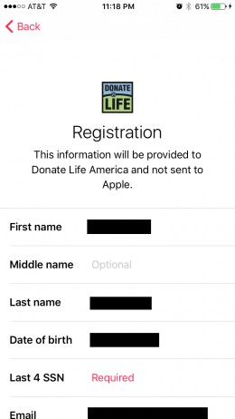You'll have to supply your first name, last name, the last four of your social security number, and your address to become an organ donor.