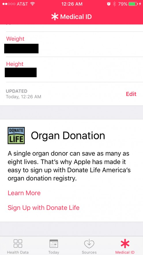 "If you've already gone through the setup process in the Health app, you can open the app, tap ""Medical ID"" at the bottom of the home screen, and then scroll down to the Organ Donation section to start the process."
