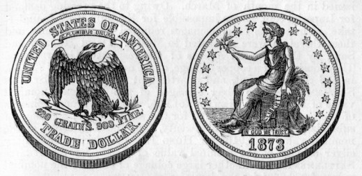 Drawing of an American Trade Dollar from 1873