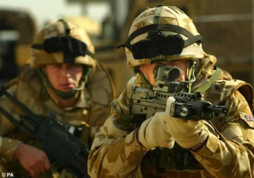 British troops under fire