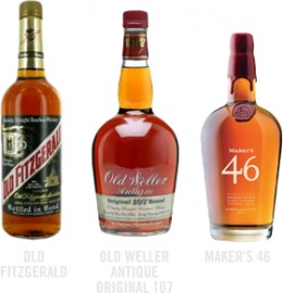 Old Fitzgerald, Old Weller Antique Original 107, Maker's 46