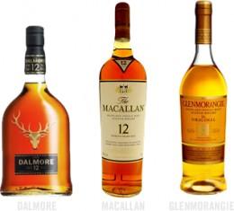 Dalmore, Macallan, Glenmorangie