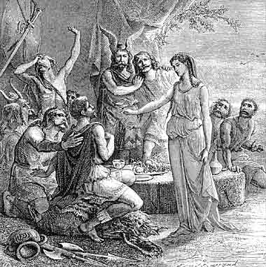 Gyptis gives the cup to Protis.