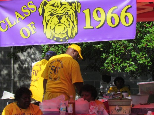 A banner displaying the 1966 Bulldogs which was the symbol for Palmetto High School during the 60's to 1971 when Palmetto was integrated with Mullins High School.