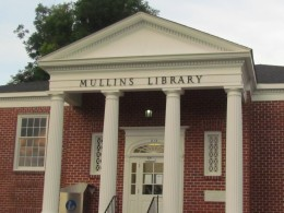 The town's public library located downtown Mullins, SC.
