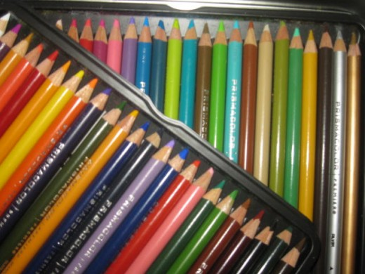 Colored pencils are available by count of twelve to as high as 150 different hues.