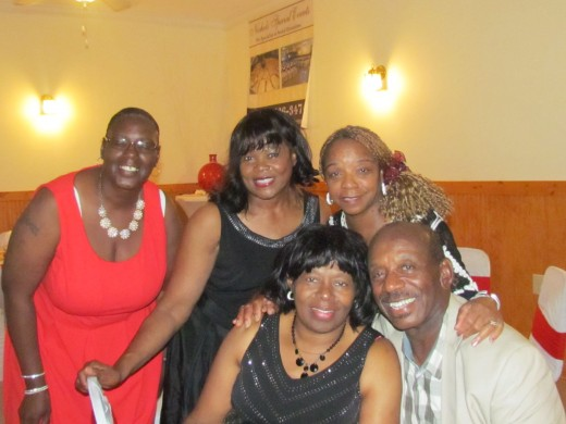 Angelladywriter, with her brother Edward, his wife Tina, her sister Geraldine and their cousin.
