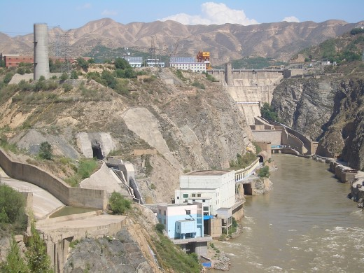 Industrial development along the Yellow River at Liujiaxia Dam in China.