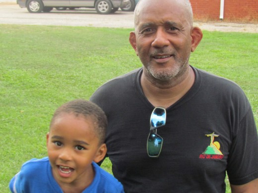 Deanie Foxworth, takes a quick photo with his son while in the park.