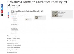 Unfeatured Poem: An Unfeatured Poem By Will McWryter