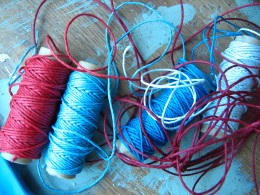 red white and blue hemp cord