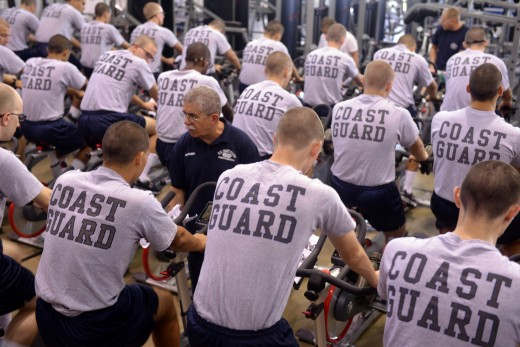 U.S. Coast Guard (USCG) personnel are required to conduct 3 hours of physical training weekly. The service does not have a standardized physical fitness assessment.
