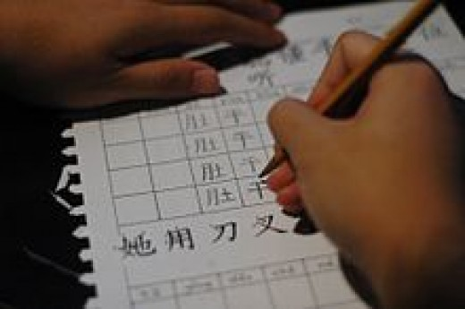 A Chinese boy practicing the writing of Chinese characters.