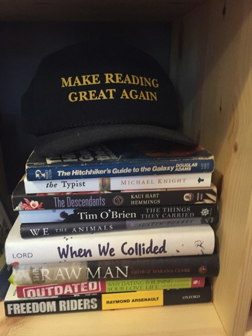 My display of signed books (topped with a hat from the Strand bookstore in NYC)