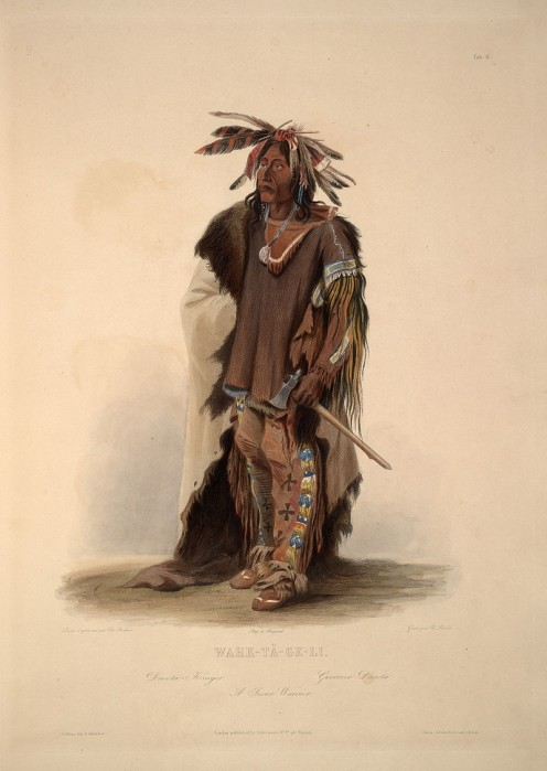 Wahktageli or Galant Warrior, the Yankton Sioux  Chief, painted by Karl Bodmer (1809 - 1893) along the Missouri river around 1834.