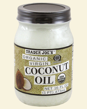 A jar of organic coconut oil at room temperature.
